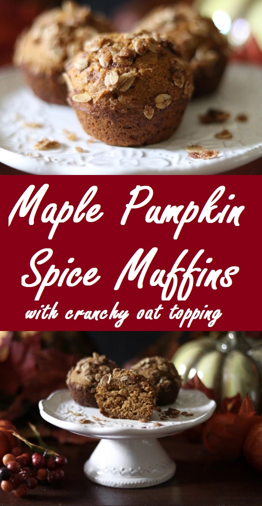 maple pumpkin spice muffins with crunchy oat topping
