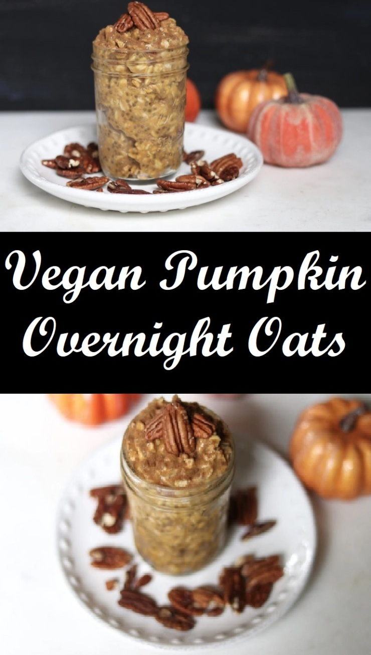 vegan pumpkin overnight oats with pecans maple syrup